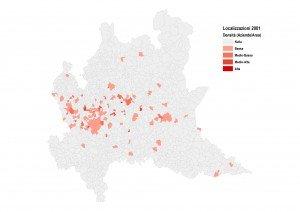 Localizzazione delle aziende nel 2001